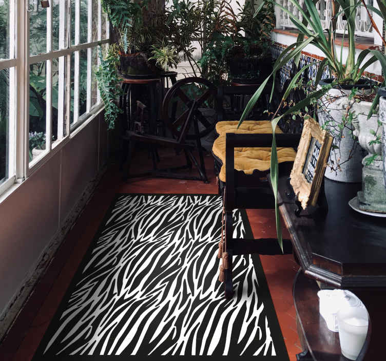 TenStickers. zebra effect animal print carpet. Amazing zebra print animal vinyl rug that will add character to your home. With +10,000 satisfied customers we know you will love it.