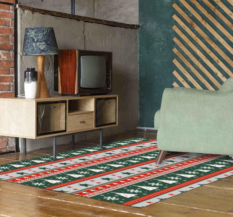 TenStickers. Dywan winylowy Świąteczny wzór. Idealny świąteczny dywan winylowy, który pomoże ci świętować ten świąteczny okres w prawdziwym stylu. łatwe do czyszczenia i konserwacji.