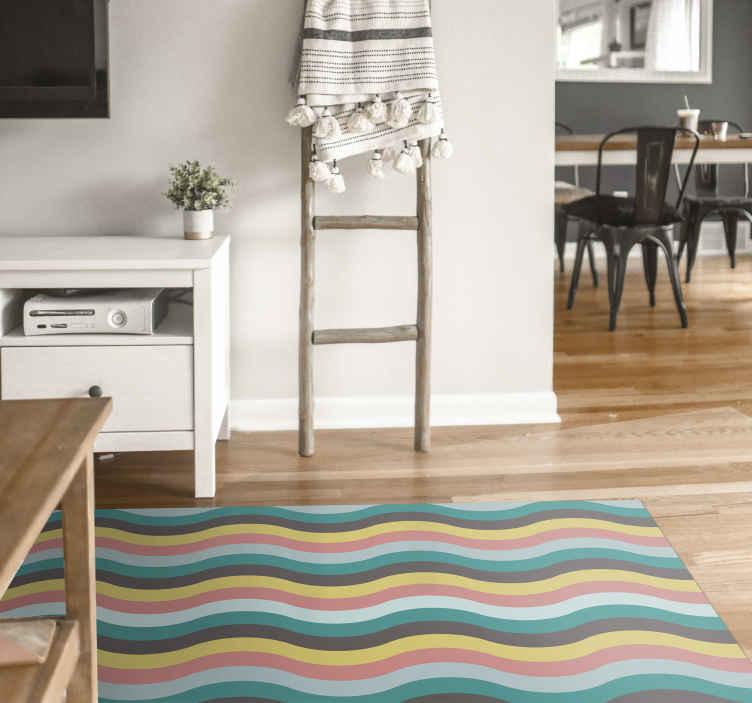 TenVinilo. Alfombra vinilo nórdica olas escandinavas. Una colorida alfombra vinilo nórdica con ondas escandinavas para darle un toque único a tu casa. Elige medidas ¡Descuentos disponibles!