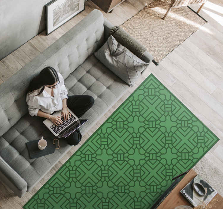TenStickers. Korean green pattern. ethnic style rugs. This vintage rug will be perfect in your home! They are available for purchase in the size you need as they are custom made in our workshop.