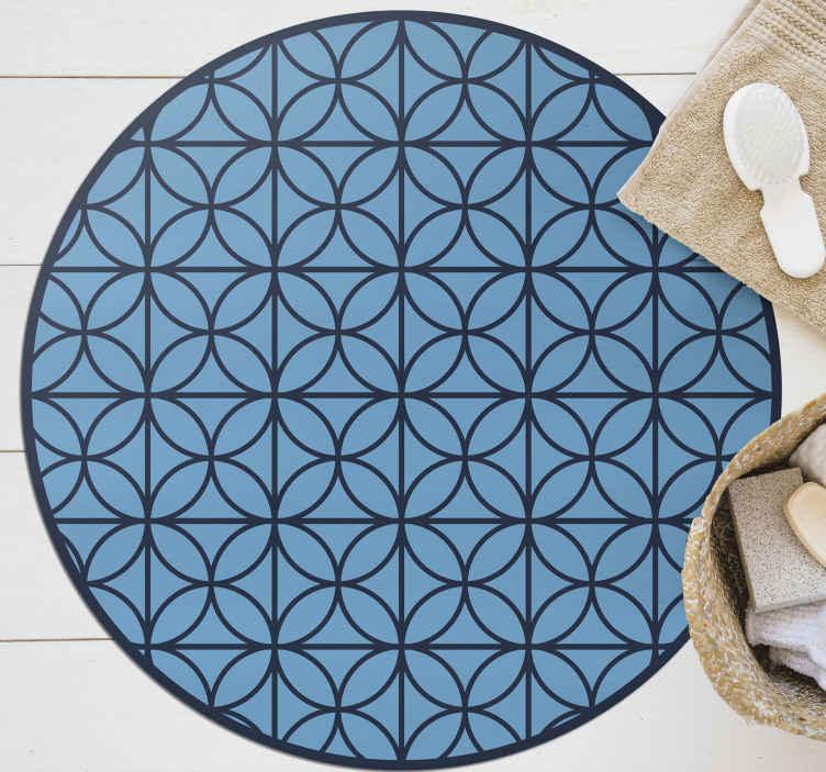 TenStickers. Covor retro cu cercuri albastre suprapuse. Covor de vinil cu cercuri albastre suprapuse. Este fabricat din materiale de înaltă calitate. îl puteți curăța și depozita cu ușurință. Verifică!
