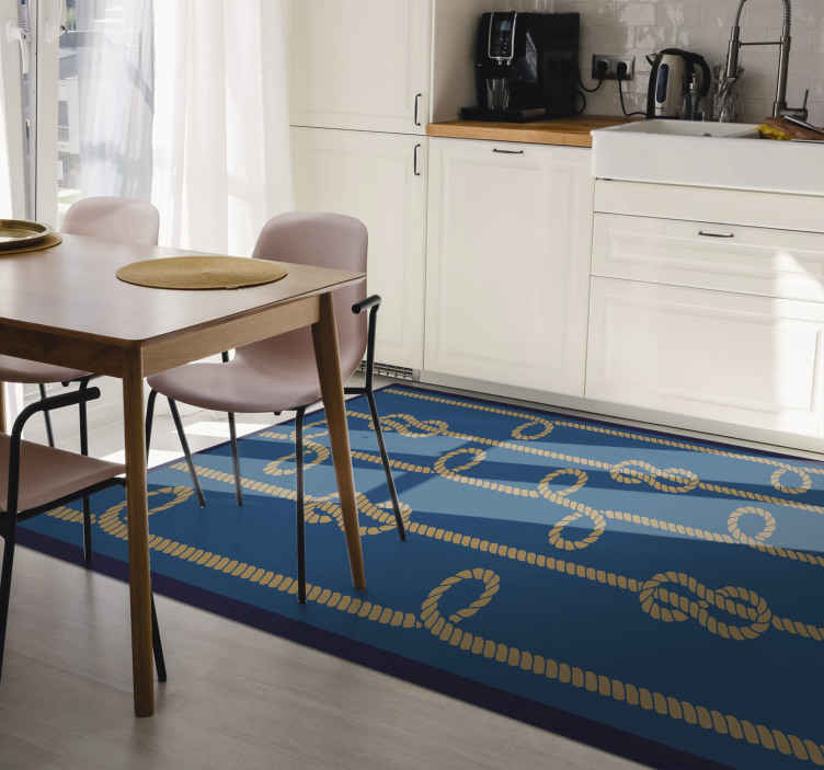 TenStickers. Rope loops retro vinyl carpet. Vintage rope loops vinyl rug that will look amazing on your kitchen floor. Rectangular shape in any size you want! Worldwide delivery!