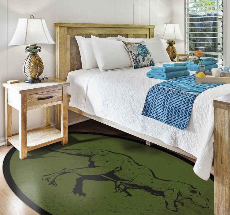 TenStickers. Donkere groene dino ronde vinyl tapijt. Een exclusief origineel vinyl vloerkleed dat uw kind extreem blij zal maken met zijn / haar nieuwe gepersonaliseerde vinyl vloerkleed! Levering aan huis!