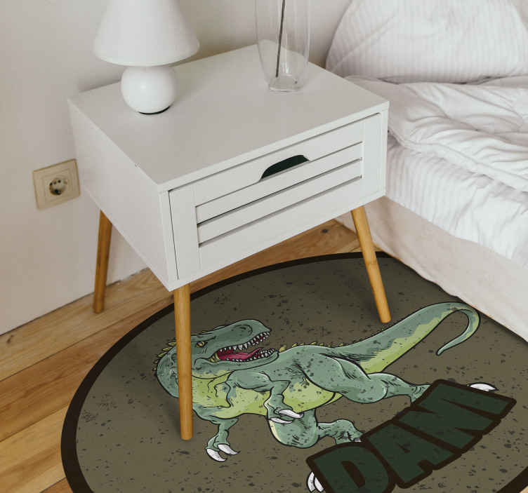 TenStickers. tirannosaurus rex with personalised name  personalised vinyl rug. This customizable product is the perfect gift for your child's space, opt for one of our personalised rugs! Home delivery !