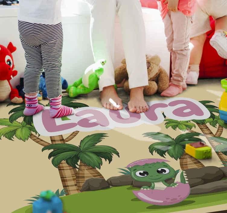 TenStickers. t rex in the forest with name personalised vinyl rug. Wonderful original vinyl rug, make your kids happy ith this products! Easy to clean and anti-slip, its the perfect rug for the kids! Home delivery!