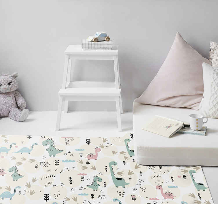 TenStickers. dinosaur prints pattern  animal print carpet. This is a dinosaur prints rug with many little dinosaur designs in pink and pastel blue, perfect for decorating your baby or child's room.