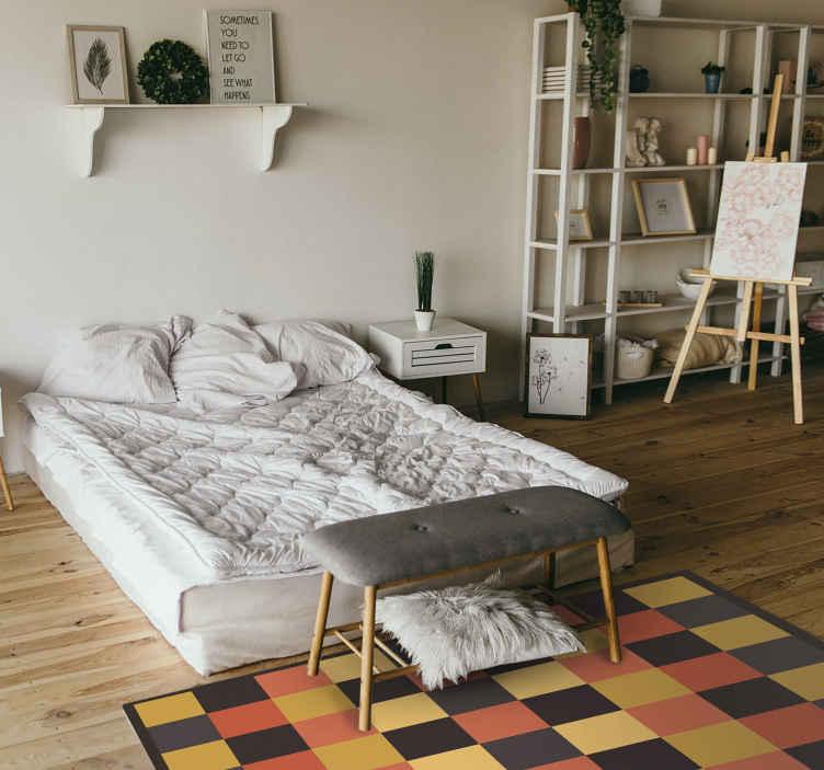 TenVinilo. Alfombra vinilo moderna cuadrados cálidos. Una bonita alfombra vinilo moderna de cuadrados cálidos para que decores tu habitación o salón de forma original ¡Envío exprés!