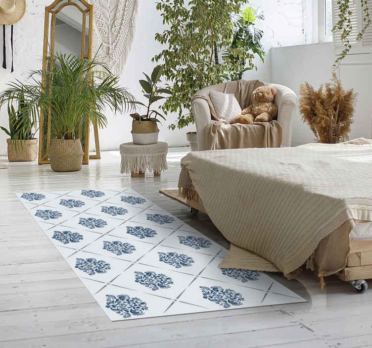 TenVinilo. Alfombra vinilo hidráulica baldosas vintage. Esta alfombra vinílica vintage con baldosas para que decores el suelo de tu casa de forma original. Diseño vintage ¡Envío exprés!