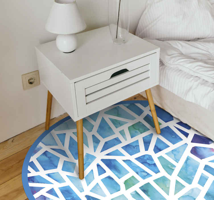 TenStickers. produtode mosaico piso de vinil em mosaico. Um mosaico de desenho de mosaico azul com um fundo branco em forma circular é ideal para decorar a sala, o quarto ou qualquer espaço da casa.