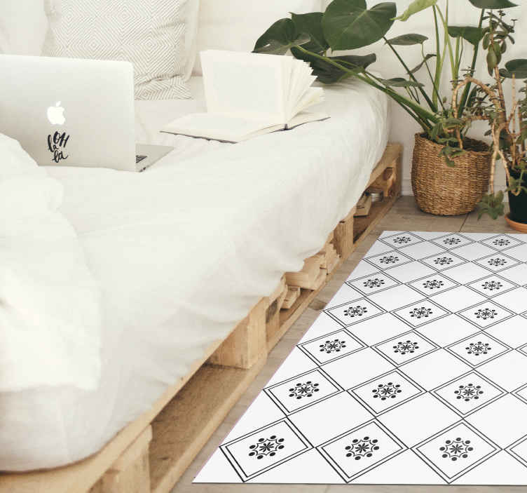 TenStickers. Zeus tile contemporary vinyl carpets. A classic black and white Zeus tiles vinyl rug for all those classic people who are looking to decorate their house in a simple way.