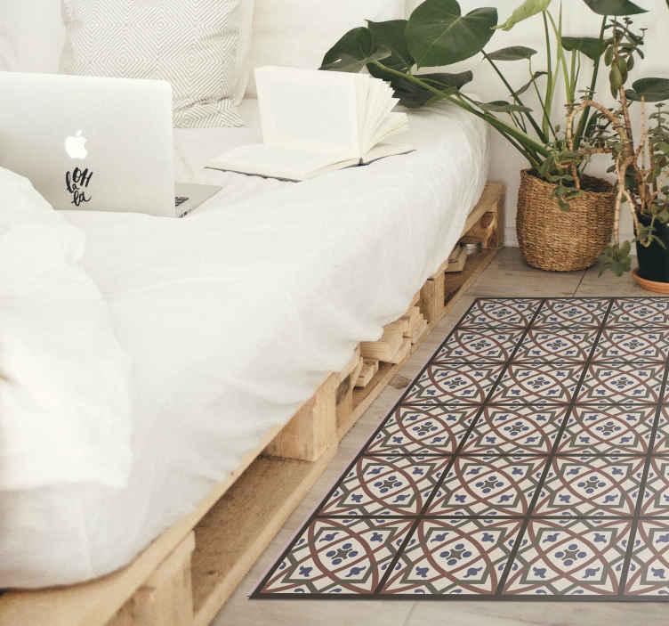 TenStickers. Tapetes contemporâneos em vinil cheyene. Um tapete de vinil de vinil cheyene que decora sua casa de forma simples e elegante, mas ainda assim é lindo. Se você está à procura de cores neutras