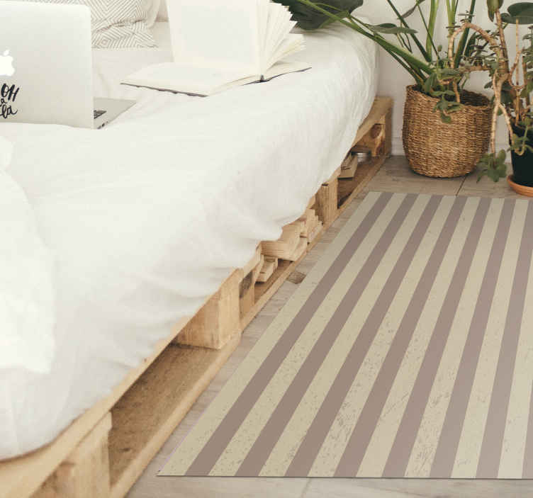 TenStickers. Brown stripe design stripes rug. An elegant brown shades stripes vinyl rug with a rectangular shape that will fit perfectly in your house while giving any space a splendid look.