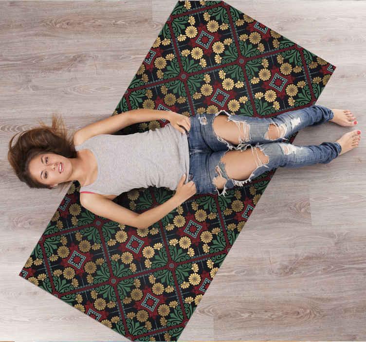 TenStickers. 摩洛哥卡斯巴当代地毯. 漂亮的摩洛哥casbah乙烯基地毯,重新装修您的房屋。这种设计适合想要装饰房间的所有年龄段的成年人。