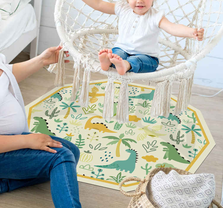 TenStickers. hand drown dinosaurs pattern vinyl carpet. Decorate your kid's room with a cute dinosaurs pattern vinyl rug where your kid can play on! Delivery to your front door available!