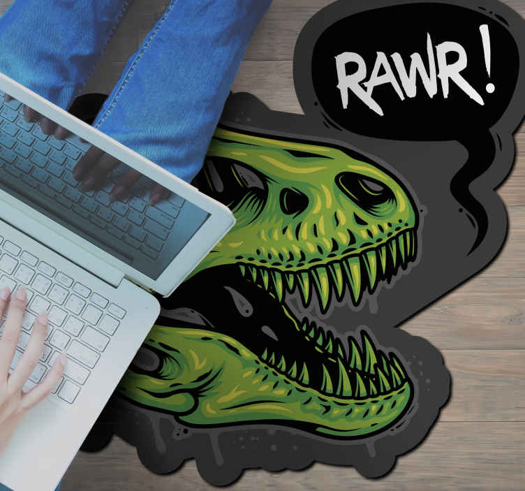 TenStickers. dinosaur head illustration with text rawr animal mat. Your child will love this item without a doubt, a green dinosaur roaring against a black background and a written roar. Home delivery