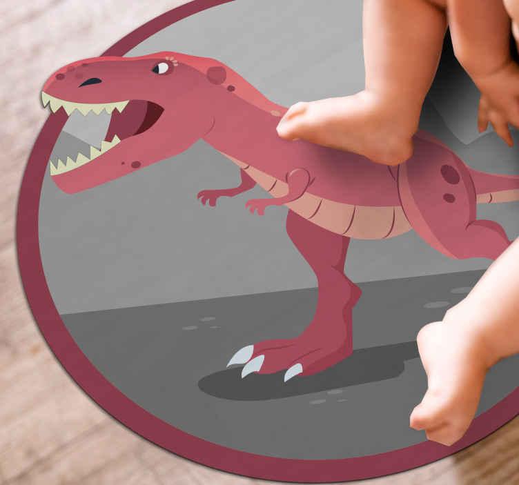 TenStickers. Covor roșu dinozaur roar 3d vinil. Un covor roșu original din vinil roșu dinozaur cu efect 3d care dă impresia că animalul iese din produs.