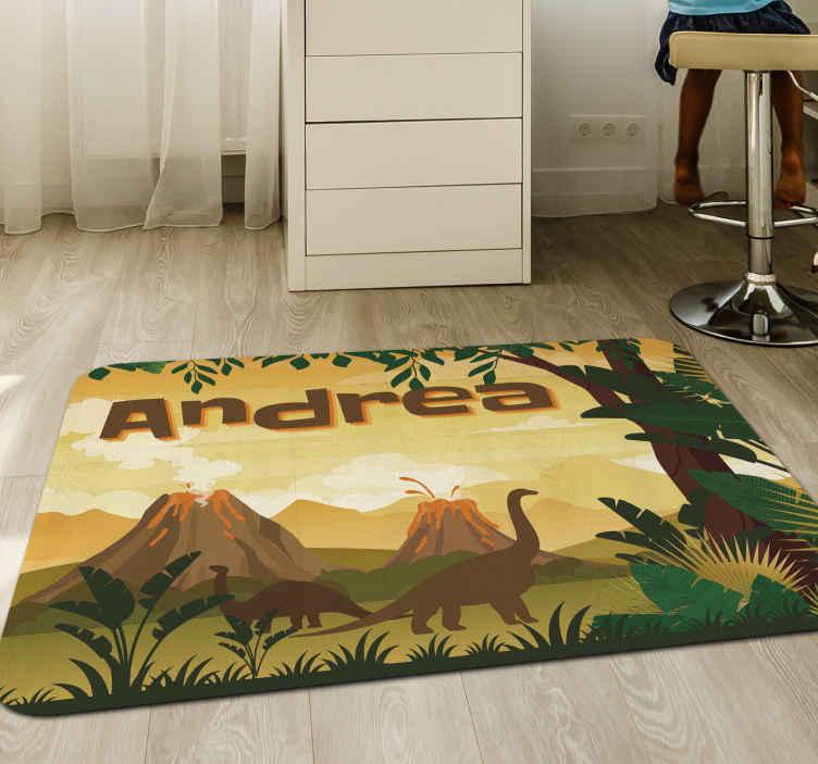 TenStickers. Tappeto in vinile nome Bellissimo paesaggio con i dinosauri. Un fantastico tappeto in vinile con dinosauri con uno scenario incredibile sullo sfondo per ogni stanza della tua casa. Facile da mantenere.