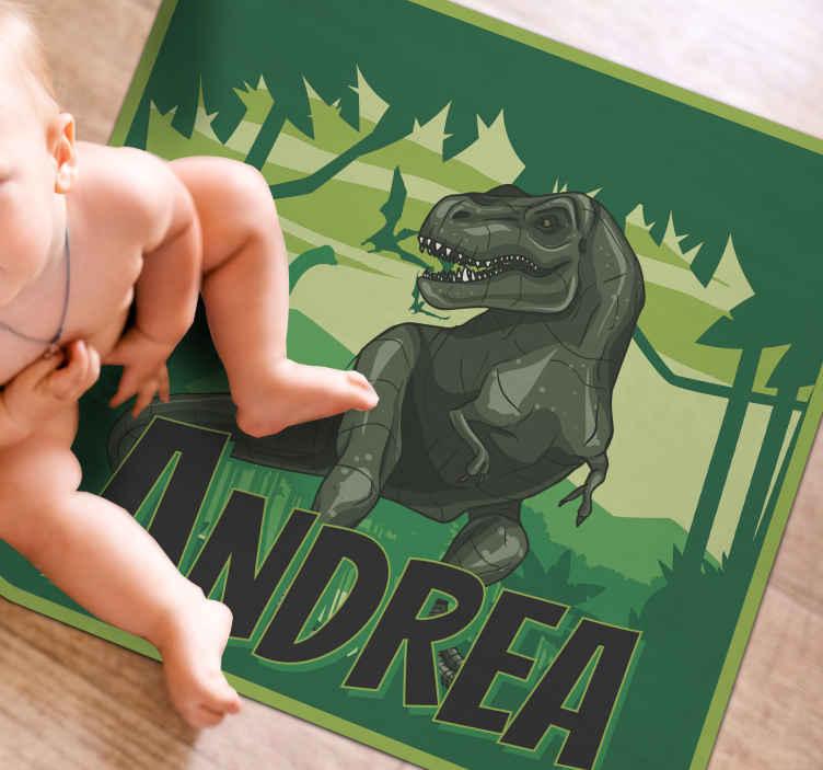 TenStickers. 逼真的恐龙背景个性化乙烯地毯. 可定制的动物乙烯基地毯,可让您与恐龙合而为一!非常容易保养和维护。