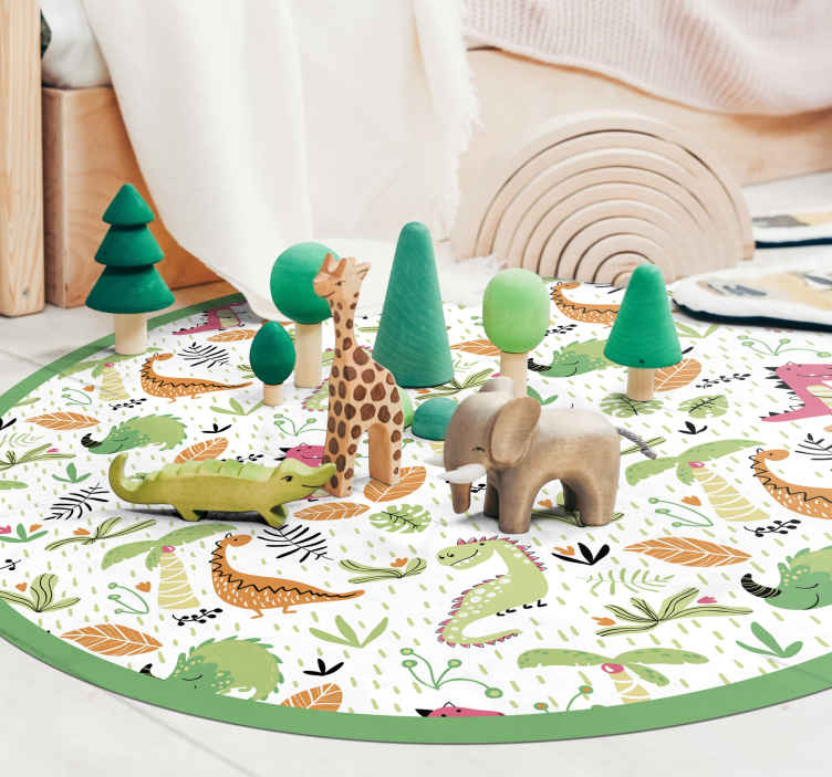 TenStickers. dinosaur and other animals pattern  animal mat. It has a cool dinosaur design in warm colors for childrens room or the living room. This carpet is perfect for your home so buy it.