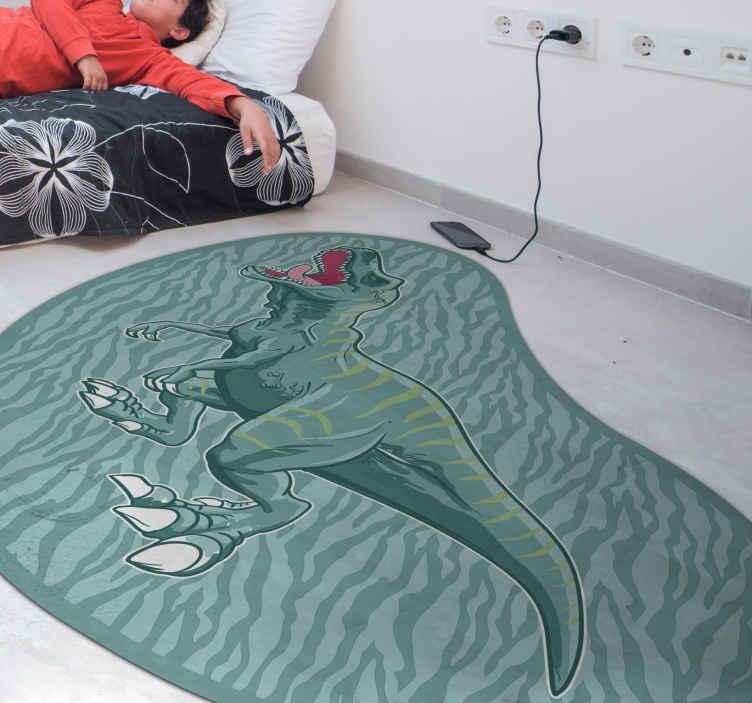 TenStickers. Dywan winylowy Tyranozaur. Ten fajny dywan winylowy z dinozaurami idealnie pasuje do Twojej dziecięcej sypialni! Jest łatwy do zamiatania, a także jest antypoślizgowy i antyalergiczny. zamów teraz!