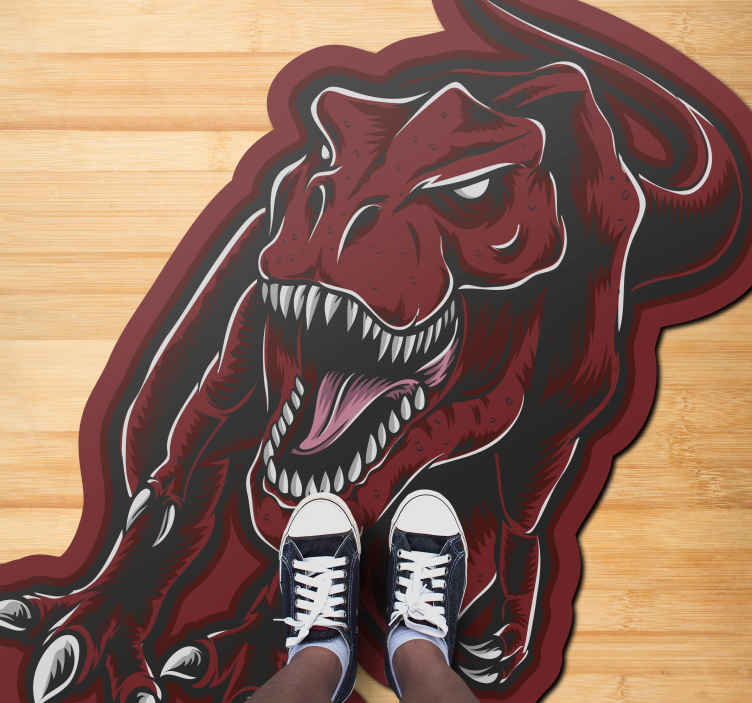TenStickers. τρομακτικό χαλί προσώπου t-rex. ένα καταπληκτικό χαλί κρεβατοκάμαρας με το σχεδιασμό ενός τυραννόσαυρου rex με κόκκινη κυριαρχία και με αιχμηρά δόντια. εξαιρετικά μακράς διαρκείας υλικό.