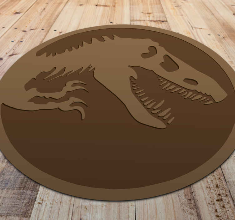 TenStickers. Dinosaur Skeleton vinyl rug. Dinosaur vinyl rug which features an image of a dinosaur skeleton showing its large teeth. High quality materials used now.