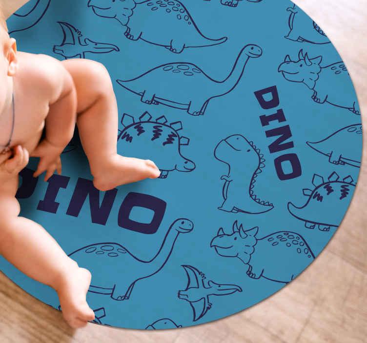 TenStickers. 可爱的恐龙图案乙烯基地毯. 恐龙乙烯基地毯,上面刻有各种恐龙形象,脸上都挂着灿烂的笑容。 +10,000名满意的客户。