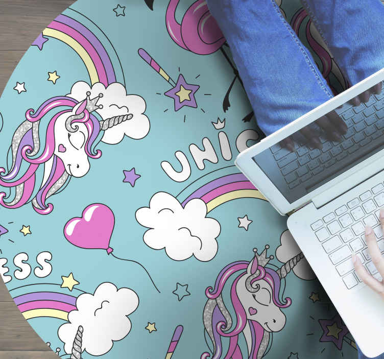 TenStickers. unicorn pattern with flamingo rainbow colorful animal mat. Beautiful fantasy vinyl rug for children room. Make the space of your kid look interesting with this unicorn pattern with flamingo animal rug.