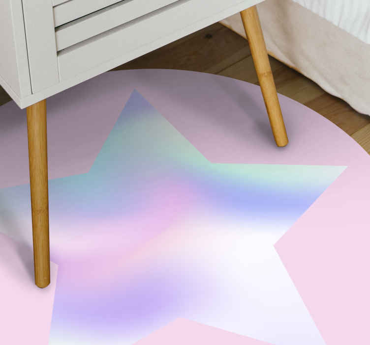 TenStickers. Abstract background with bokeh contemporary rugs. Colorful modern vinyl carpet for your home. Decorate any floor space with this lovely round pink colour vinyl rug with star design.