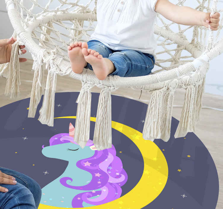TenStickers. cute unicorn with stars animal mat. Suitable children bedroom vinyl carpet with illustration design of  beautiful unicorn and space features. It is original and easy to maintain.