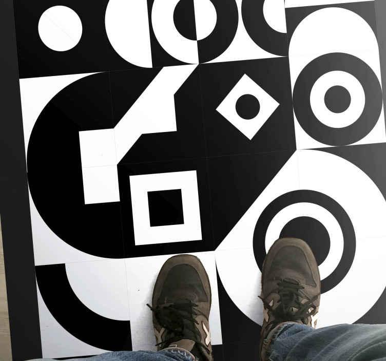 TenVinilo. Alfombra vinílica geométrica blanca y negra. ¿Te encantan las alfombras vinílicas geométricas en blanco y negro? Te ofrecemos este increíble diseño original ¡Envío exprés!