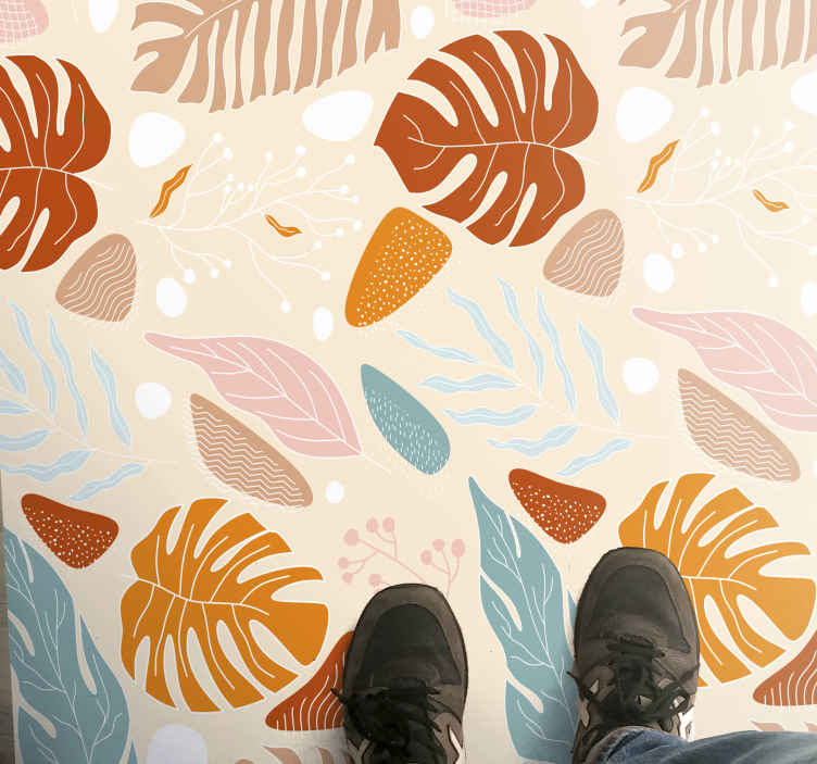 TenStickers. Colourful leaf carpet runners for halls. Vinyl rug with autumn leaves, easy to clean and store. Made of high quality materials. 100% satisfaction. Delivery right to your door.