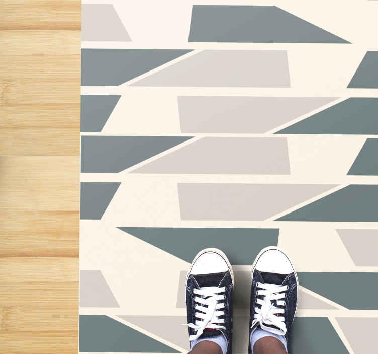 TenVinilo. Alfombra vinílica pasillo baldosas de cerámica . Alfombra vinílica hidráulica con azulejos de cerámica con baldosas similares a la cerámica en tonos brillantes de gris, vainilla y crudo