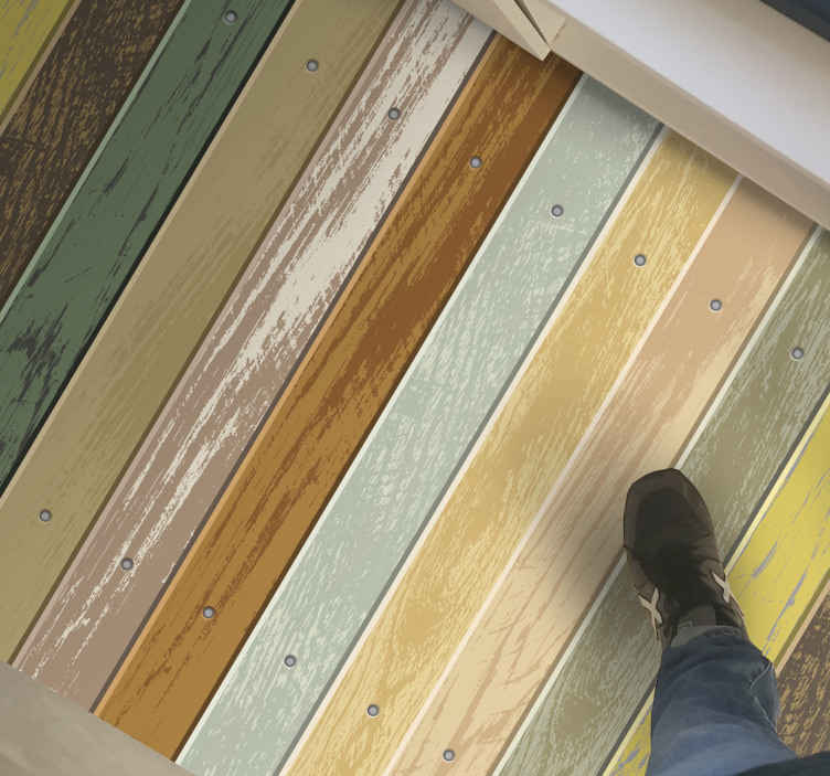 TenStickers. Fading colourful wood carpet runners for halls. Amazing design with wood effect and in boards of various colours perfect for you and your home, original rug to decorate the corridor. Easy to apply.