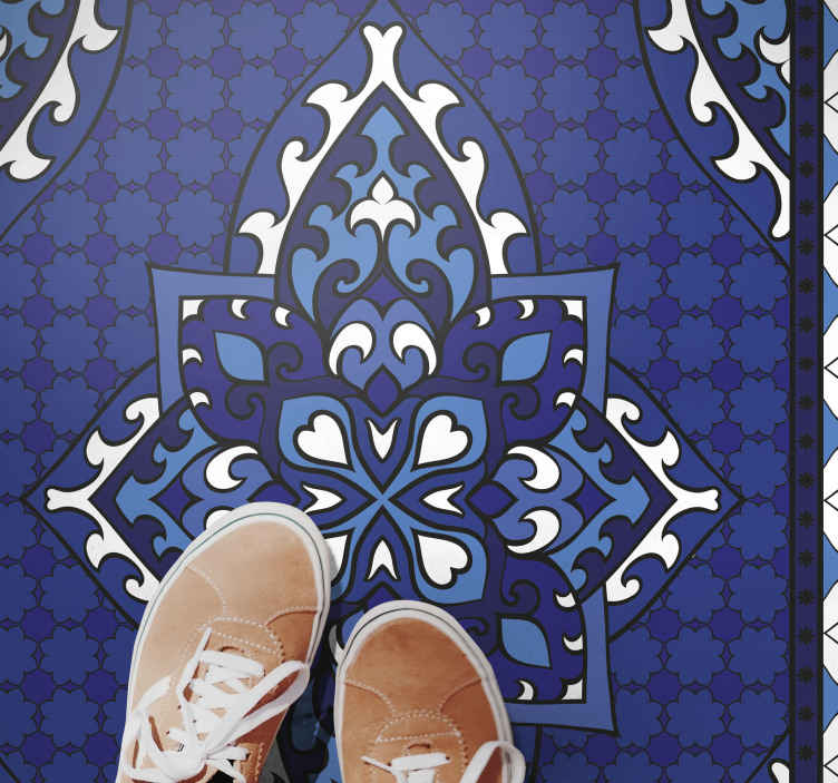 TenStickers. Old vintage carpet carpet runners for halls. This old vintage carpet with an ornamental figure design in blue and white is ideal for decorating your home. Sign up for 10% off.
