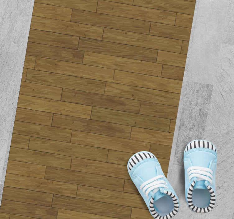 TenVinilo. Alfombra vinílica marrón tablas de madera. Alfombra vinílica marrón de madera para que decores de forma original tu pasillo, entrada o salón ¡Descuentos disponibles!