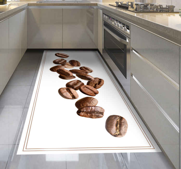 TenStickers. falling coffee beans contemporary rugs. A realistic coffee bean vinyl rug that will look amazing in your kitchen! Select the perfect size for you and your home.
