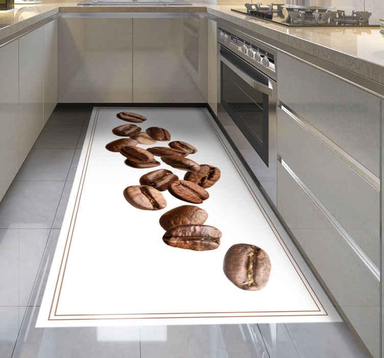 TenStickers. Moderne Vallende koffiebonen vinyl tapijt. Een realistisch vinyl vloerkleed met koffiebonen dat geweldig zal staan in uw keuken! Kies de perfecte maat voor jou en uw huis.