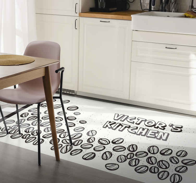 TenStickers. background with coffee beans contemporary rugs. This kitchen coffee vinyl rug is the best way to add a personal touch to your home! Sign up today for 10% off your first order.