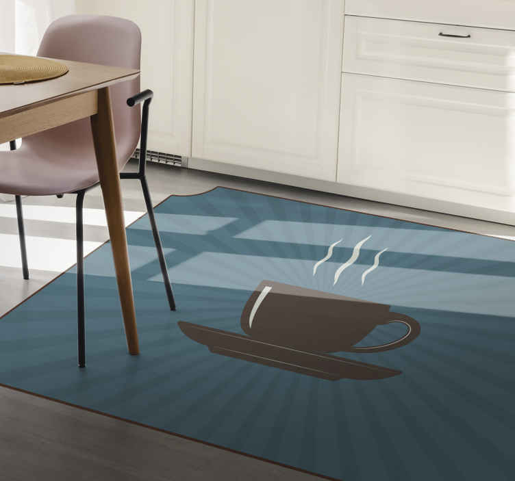TenStickers. espresso coffee cup blue background contemporary rugs. This beautiful modern coffee vinyl rug with blue background will leave all your guests in awe! Choose your size and get decorating your home today.