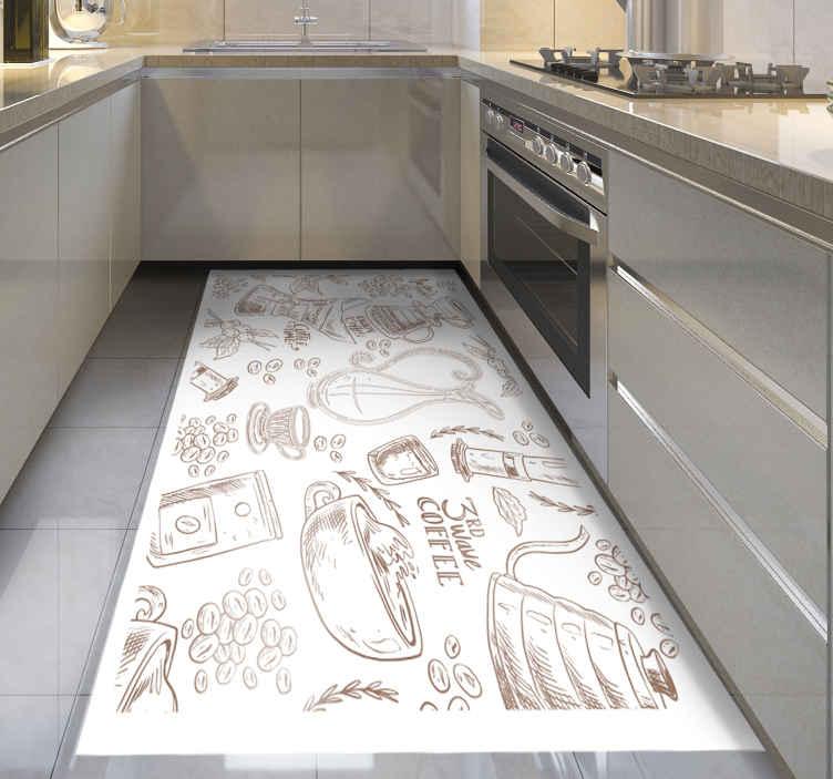 TenStickers. Moderne third wave coffee vinyl tapijt. Kies dit rechthoekige moderne koffie vinyl tapijt om de look van uw huis te vernieuwen! Meld u aan op onze website voor 10% korting op uw eerste bestelling.