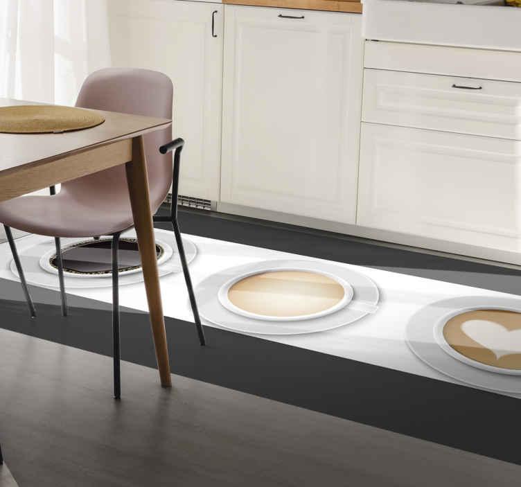 TenStickers. Moderne drie verschillende koffiekopjes vinyl tapijt. Het perfecte rechthoekige vinyl vloerkleed van koffie om de stijl van uw huis te verbeteren! Kies de maat die het beste bij u past en begin met decoreren.