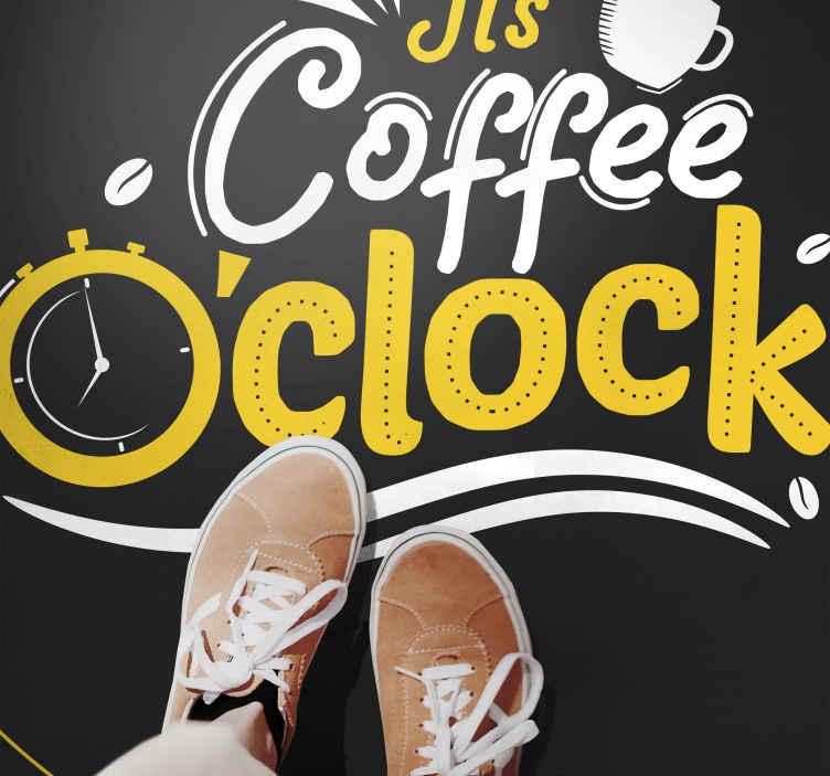 """TenVinilo. Alfombra vinilo cocina de hora del café. Alfombra vinilo cocina de diseño original con la frase """"es café en punto"""" en colores oscuros, blanco, negro y amarillo ¡Envío exprés!"""