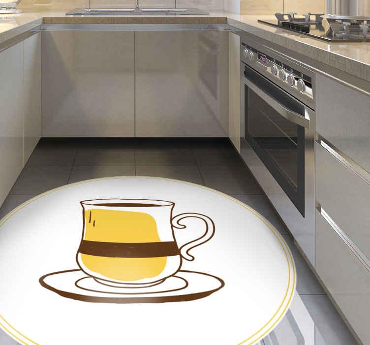 TenVinilo. Alfombra vinilo cocina taza café vintage. Original alfombra vinilo cocina con taza de café retro para que decores tu cocina a tu propio gusto ¡Descuentos disponibles!