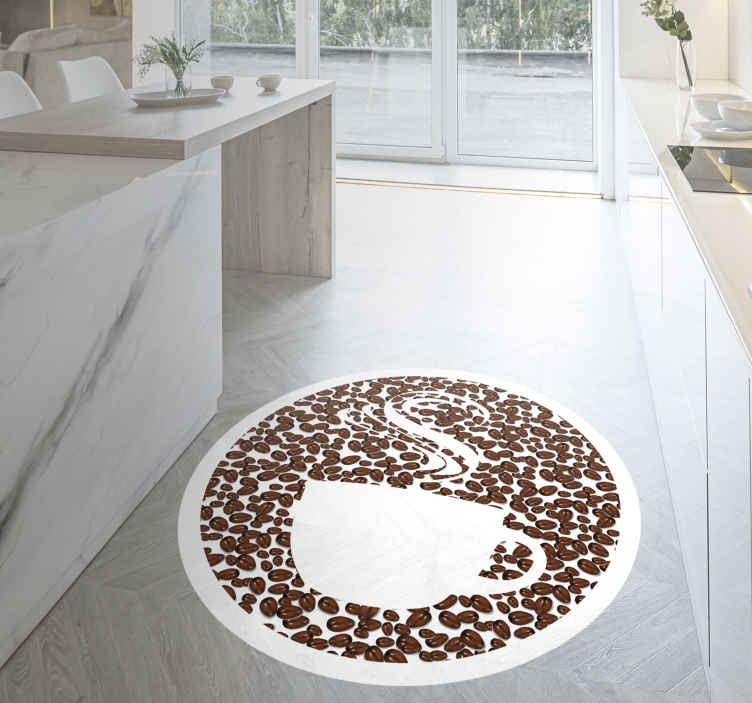 TenStickers. cu of coffee with coffee beans contemporary rugs. Circular carpet with a white background and the image of a coffee cup made of brown coffee beans perfect to decorate your kitchen. Sign up for 10% off