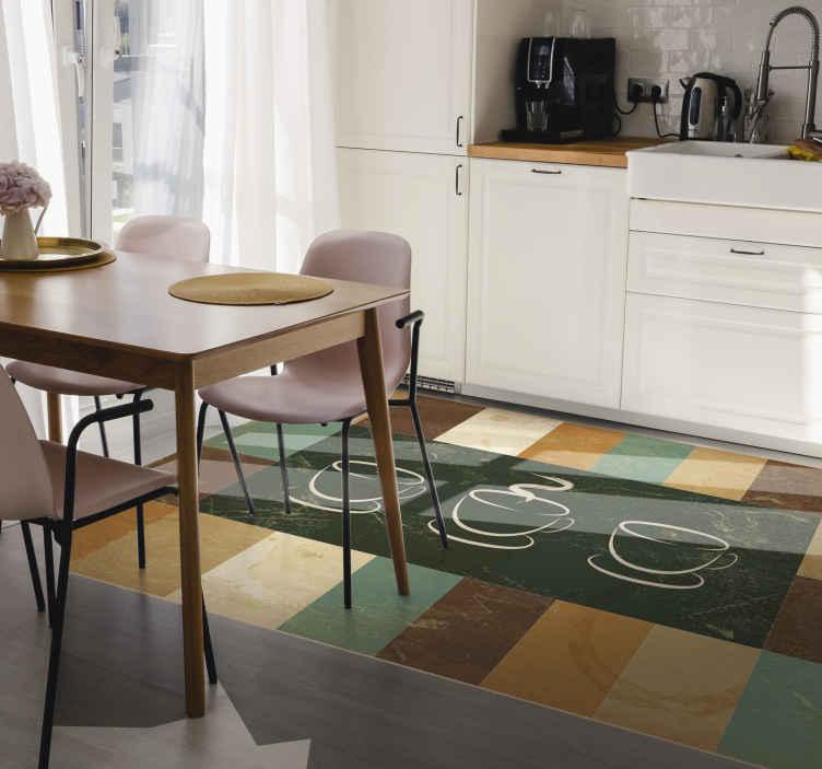 TenStickers. Moderne koffiekopje en strepen vinyl tapijt. Moderne koffiekopje vinyl tapijt in donkere kleuren zoals bruin, groen, beige, enz. En de illustratie van verschillende koffiekopjes om uw keuken te versieren.