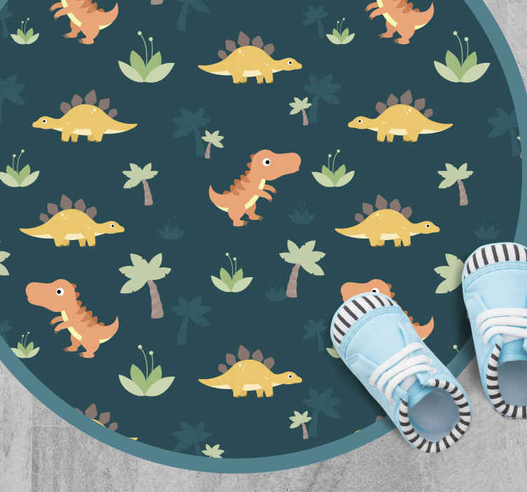TenStickers. cute dinosaurs for children kids vinyl carpet. Give your children the gift of the decade with this awesome and cute kids dinosaur vinyl rug. Watch your children become happy today!