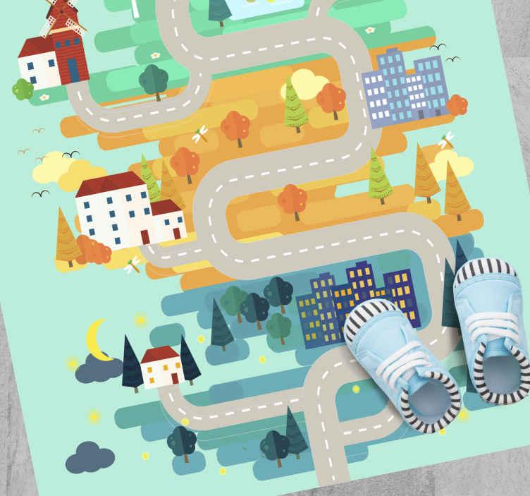 TenStickers. Vinyl vloerkleed Landschap met wegen. Een ongelooflijk vinyl vloerkleed voor kinderen waar uw kinderen dol op zullen zijn. Grote kortingen zijn vandaag online beschikbaar.