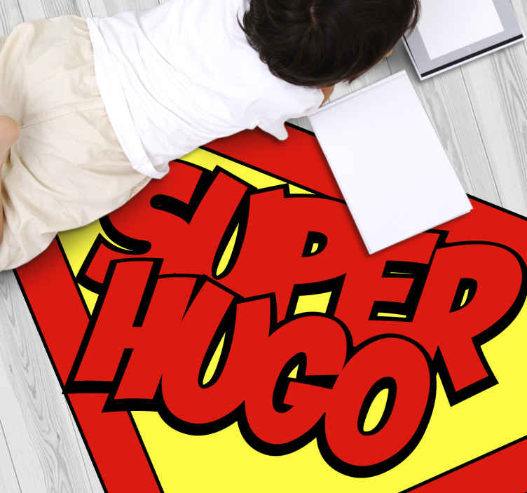 TenStickers. superman with name personalised vinyl rug. An incredible personalised vinyl rug that will make your kids feel like superheroes! Super simple to apply and maintain.