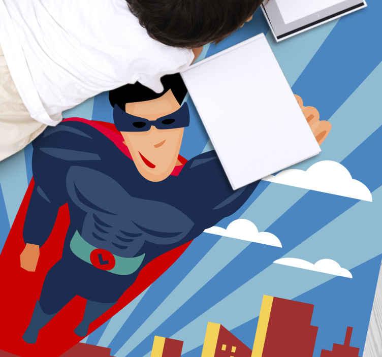 TenStickers. Tapete de vinil infantil voador de super-heróis. Com este tapete de vinil de super-heróis, seu filho também pode se tornar um super-herói e salvar o mundo contra o mal! Crie um super-herói hoje!